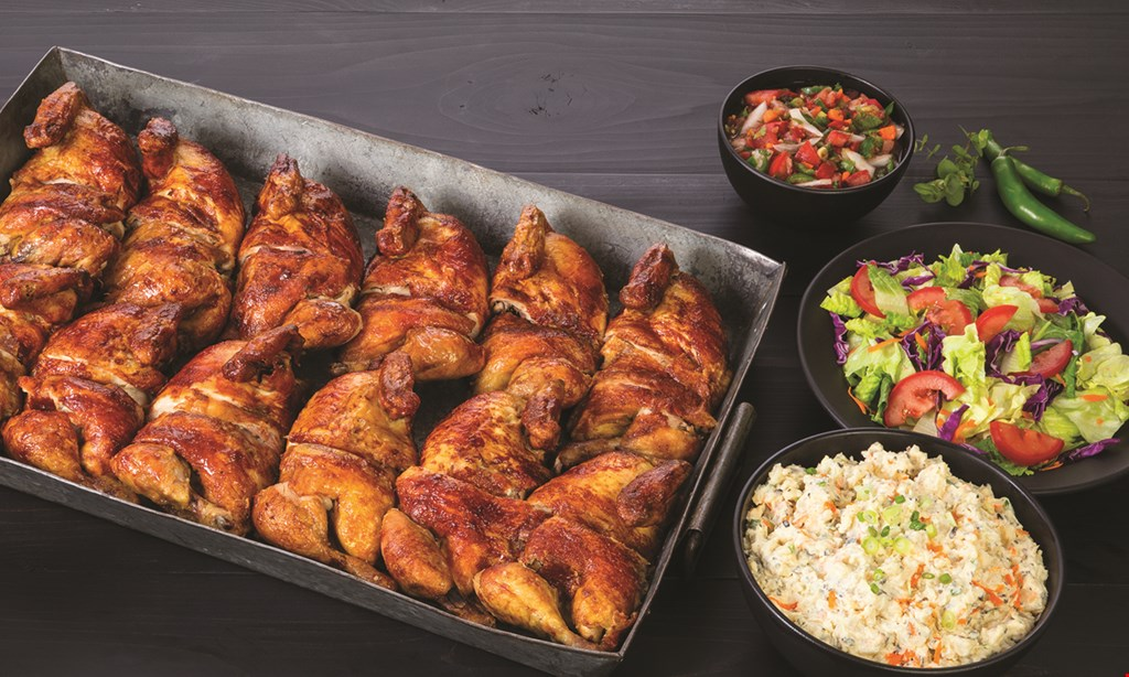 Product image for Juan Pollo Rotisserie $4 off jumbo pak includes 3 chicken with your choice of 3 x-large sides, salsa & tortillas (feeds 9-10).
