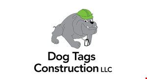 Product image for Dog Tags Construction $1,000 off full roof & full siding job combined