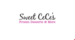 Product image for Sweet Cece's Murfreesboro 1/2 OFF Yogurt Cup buy 1 yogurt cup and get 1 yogurt cup of equal or lesser value 1/2 OFF.