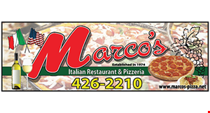 """Product image for Marco's Restaurant $18.99 for 2-16"""" cheese pizzas"""