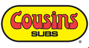 "Product image for Cousins Subs Free sub. Buy any 7 1/2"" sub & a side*,get a 7 1/2"" sub FREE! *Sides include chips, fries, Wisconsin Cheese Curds, Wisconsin Mac& Cheese, drink, & soup."
