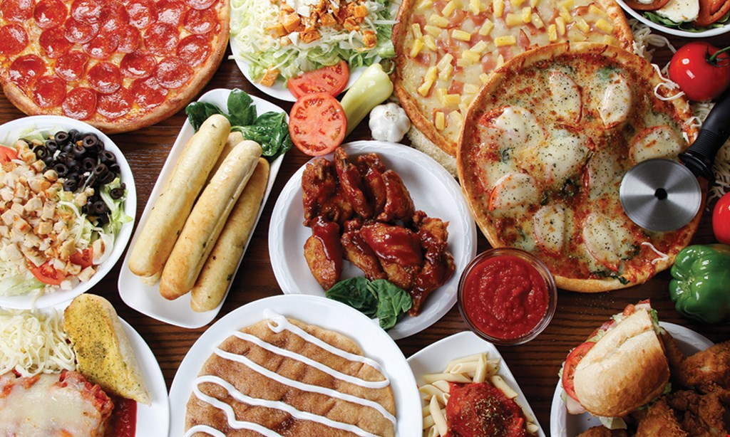 Product image for Gionino's Pizzeria ONLY $19.95 2 MEDIUM 1-TOPPING PIZZAS EXTRA CHEESE $2.95 EXTRA CHARGE FOR ADDITIONAL ITEMS.