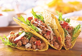Product image for Oscar's Taco Shop $7.99 family pack 8 crispy ground beef or grilled chicken tacos and one full order of chips and salsa.