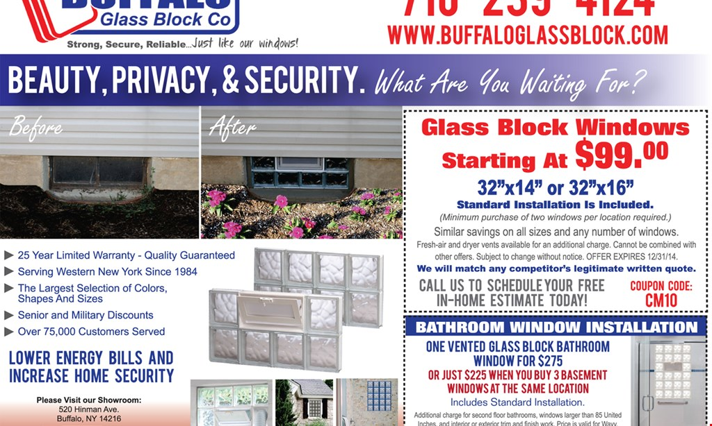 "Product image for Buffalo Glass Block Glass block windows starting at $164. 32""x14"" or 32""x16"". Standard installation is included. (Minimum purchase of two windows required.) Coupon Code: CM03. Similar savings on all sizes and any number of windows."