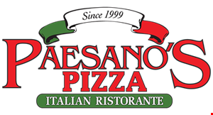Product image for Paesano's Pizza Italian Ristorante $11.49 FOR 1 LARGE 16 INCH CHEESE PIZZA