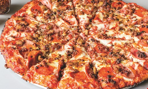 Product image for Grand Slam Pizza $29.99 large 2 topping pizza, large dinner or Ceasar salad, spaghetti & meatballs with garlic bread