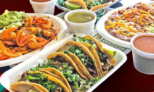 Product image for Rancho Viejo Mexican Food $2 OFF 1 Burrito with choice of pollo asado, carnitas, al pastor, or veggie and 1 Large Drink not valid on carne asada, lengua, or shrimp.