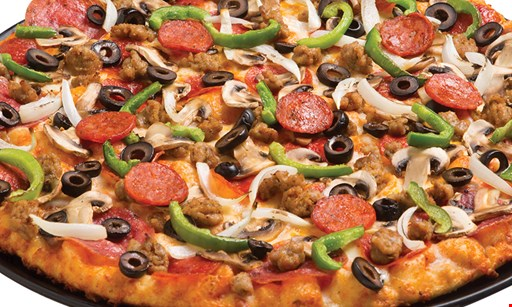 Product image for Round Table Pizza- La Mesa $25.99 + tax Large 1-Topping Pizza, 6 Garlic Parmesan Twists & a 2-Liter Soda.