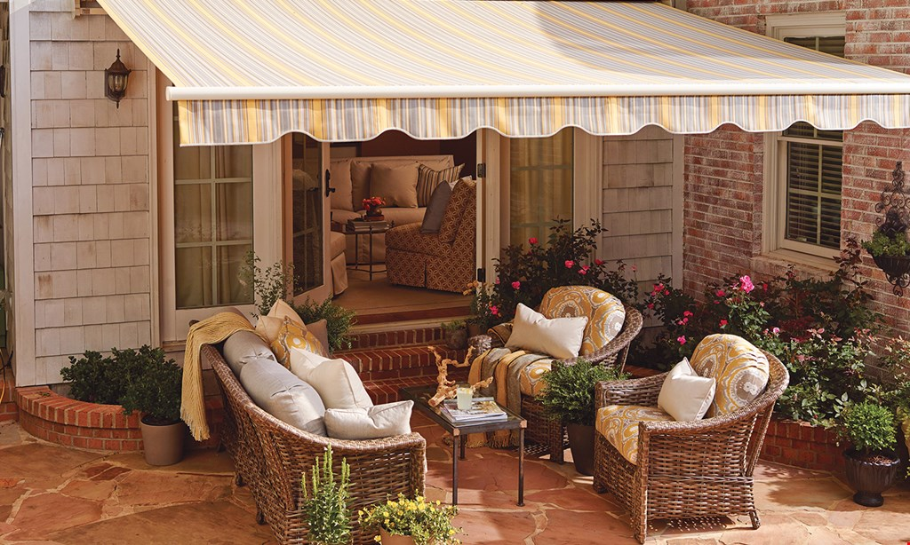 """Product image for The Awning Warehouse $UPER $PRING $ALE11'9""""x10' $2,499 15'7"""" x 10' $2,799 19'3"""" x 10' $3,399 EARLY BIRD SPECIAL PRICESALL RETRACTABLE AWNINGS INCLUDE INSTALLATION, WALL MOUNTING AND 2'X10' CAPPED BACKER BOARD ONVINYL-SIDED HOMES. ADD motor $499 No Electrician Needed."""