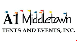 Product image for A1 Middletown Tents And Events, Inc $289.99 one 20x20 pole tent, four 5ft round tables, 32 white chairs Includes: delivery & set up only.