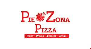 """Product image for Pie Zona Pizza $17.99 14"""" LARGE 2-topping pizza & 10 wings OR  $22.99 2 LARGE 1-topping pizzas, cheesebread & 2-liter."""