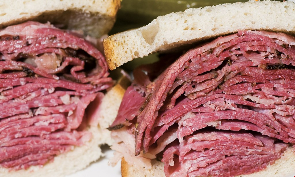 Product image for Bronx Bagel & Deli $19.99 - 2 jr. deli sandwiches. Choice of turkey, roast beef, salami, corned beef, pastrami or brisket, 1/2 lb. of cole slaw or potato salad, quart of homemade soup