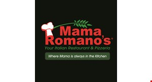 Product image for Mama Romano's Italian Restaurant And Pizzeria $39.99 1 Large Cheese Pizza, 25 Chicken Wings (Your Style) & 2-Liter Soda.