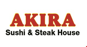 Product image for Akira Sushi Steak House $10 Off any order of $50 or more.