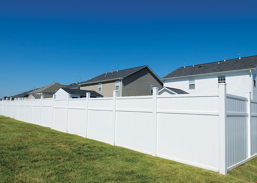 Product image for Fence Mall Inc. $1749 white vinyl fence 100 ft. installed
