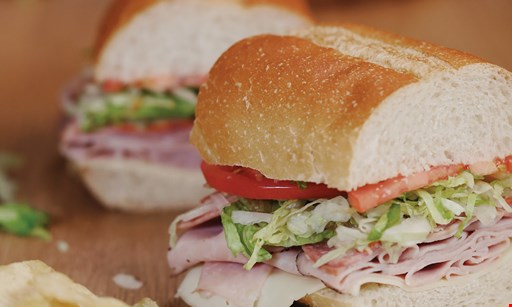 Product image for Jersey Mike's Subs $13.99 meal deal! Tax not included. Giant sub 1 chip & (1) 22oz fountain drink.