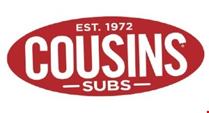 "Product image for Cousins Subs Online ordering code: SPRINGSUB. Free sub. Buy any two 7 1/2"" subs & a side, get the third 7 1/2"" sub free."