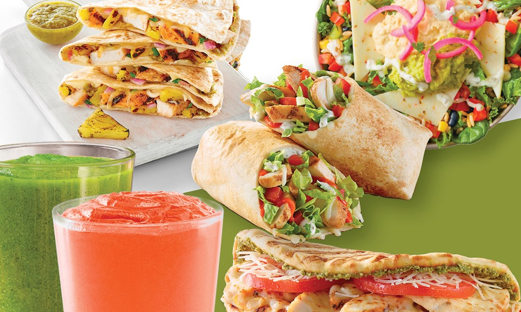 Product image for Tropical Smoothie Cafe $3.99 flatbread, wrap or quesadilla between 7am and 10am