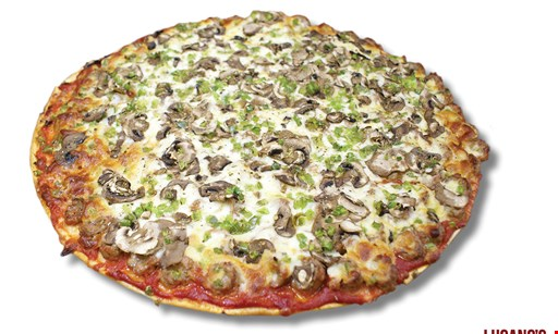 "Product image for Lucano's Fine Italian Cuisine - Crest Hill FREE 16"" thin crust cheese pizza"