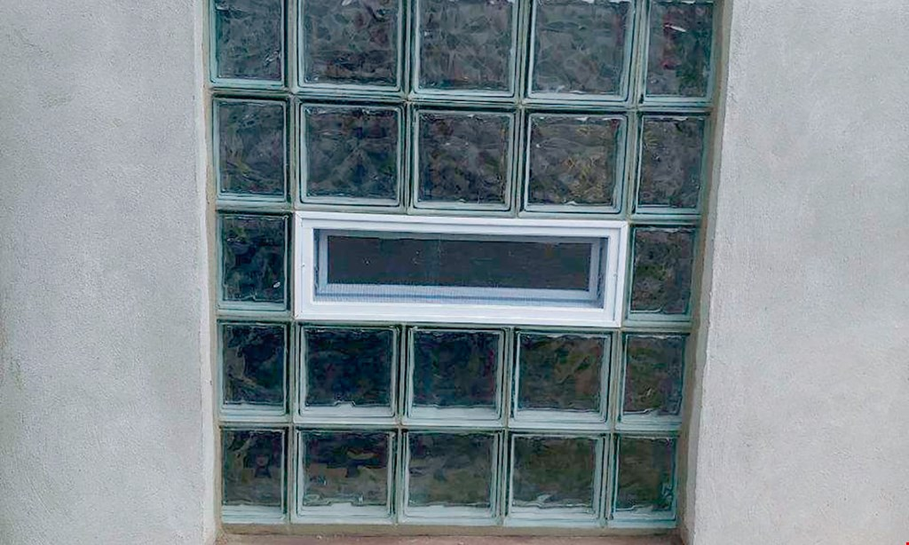 "Product image for Maier Glass Block $115 32""x 14"" window installed $135 32""x 24"" window installed Fresh air vents, and dryer vents also available for additional charge, call for details."