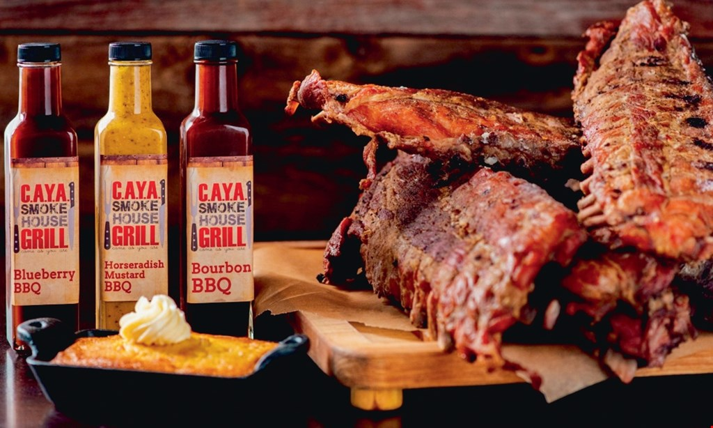 Product image for C.A.Y.A. Smokehouse Grill $49 1/2 lb each pulled pork, brisket smoked turkey, 2 orders each of mac & cheese, cole slaw and cornbread*Carry out only..