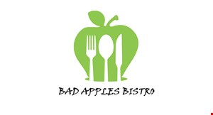 Product image for Bad Apples Bistro $10 OFF any purchase of $75 or more.