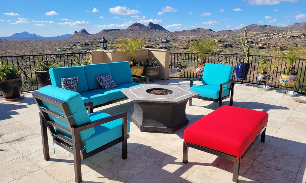 Product image for Paradise Patio Furniture 15% OFF custom cushions.