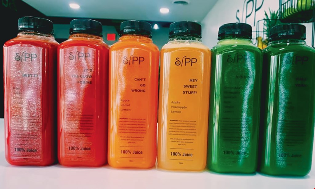 Product image for Sipp Smoothie And Juice Bar 1/2 OFF wrap with purchase of smoothie.