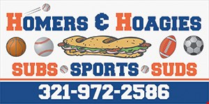 Product image for Homers & Hoagies $10 Off monthly membership (reg $49.99/mo+tax) includes UNLIMITED play all month long, batting cages, basketball courts, turf fields, bull pen and 10% off Sports Cafe (excludes alcohol).