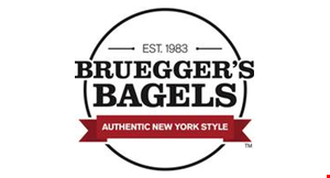 Product image for BRUEGGER'S BAGELS Free Bagel with cream cheese with any large beverage purchase