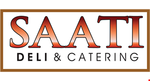 Product image for Saati Deli & Catering $2 off any purchase of $15 or more. $5 off any purchase of $25 or more valid for dine in or take-out.