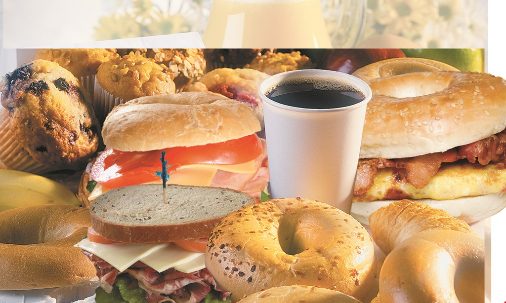 Product image for 3 MEN & A BAGEL 50% off any specialty lunch sandwich with purchase of 1 specialty lunch sandwich of equal or greater value.