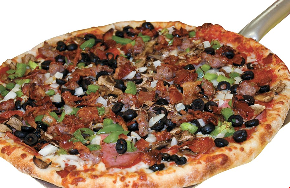 Product image for FATTES PIZZA $18.49 + tax 2 large pizzas with one topping.