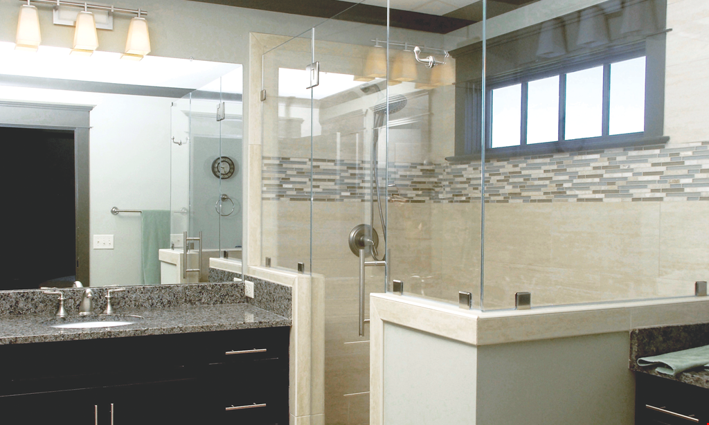 Product image for Clinton Glass- Bath & Shower SHOWER DOOR SPECIAL $100 OFF Any Pivot Hinge, Heavy Glass Shower Door.