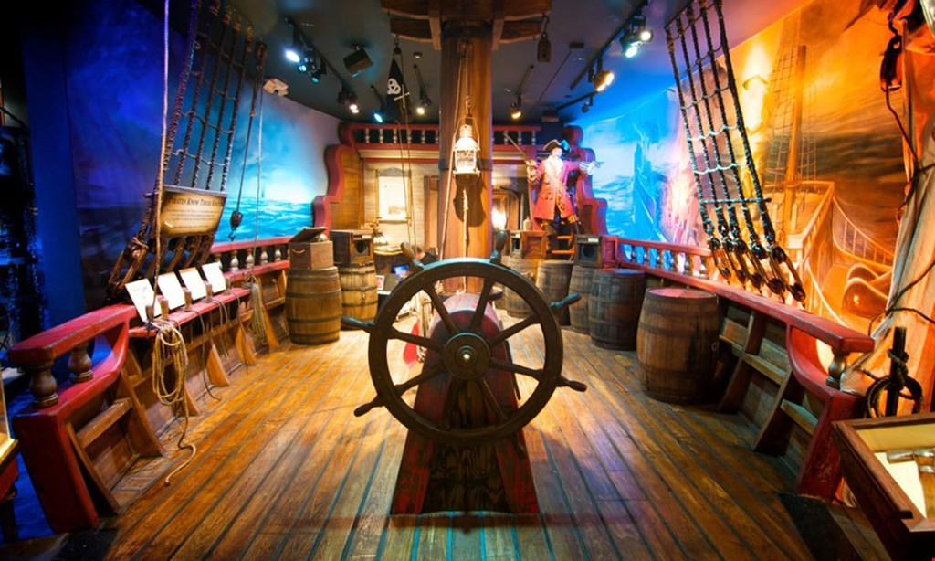 Product image for Pirate & Treasure Discount admission coupon. $1 off admission.