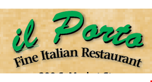 Product image for Il Porto MON.-FRI. ONLY. 1/2 OFF lunch buy 1 lunch entree, get a 2nd lunch entree of equal or lesser value ½ off.