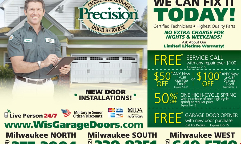 Product image for Precision Overhead Door Free service call with any repair over $199.