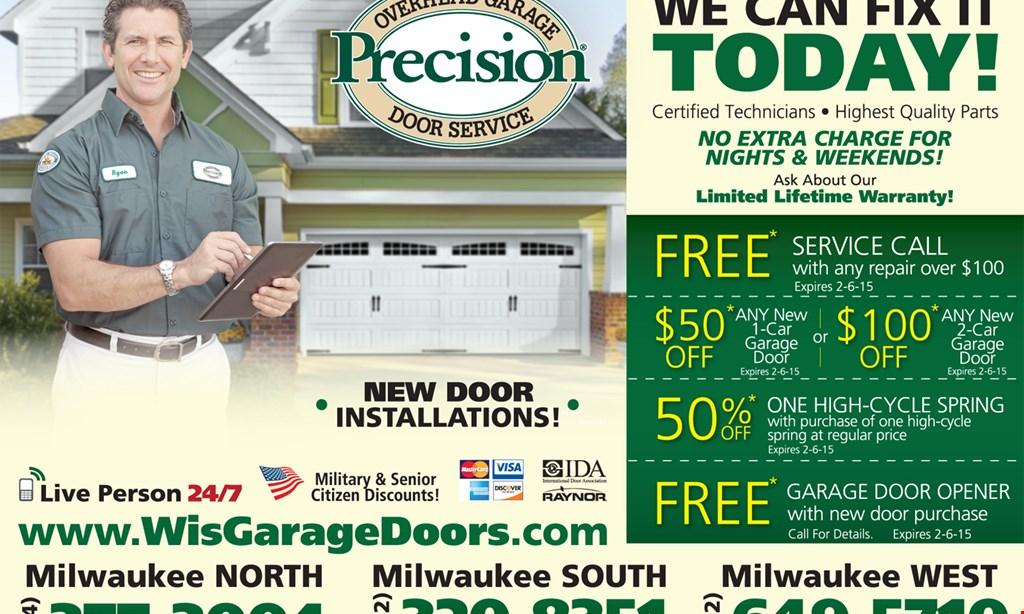 Product image for Precision Overhead Door $150 off any new 1-car garage door or $250 off any new 2-car garage door.