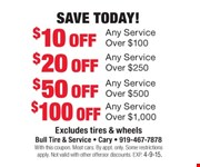 $10 off Any Service Over $100 Save Today! Over $100 Excludes tires and wheels With this coupon. Most cars.By appt. only. Some restrictions apply. Not valid with other offers or discounts. Exp. 04-09-15.