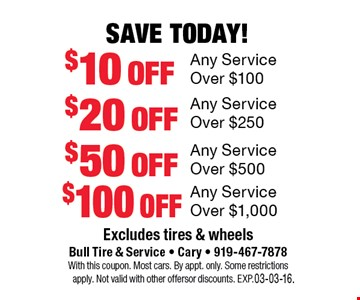 Save Today!$10 offAny Service Over $100. Excludes tires and wheelsBull Tire & Service • Cary • 919-467-7878With this coupon. Most cars.By appt. only. Some restrictions apply. Not valid with other offers or discounts. Exp. 03-03-16.