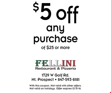 $5 off any purchase of $25 or more. With this coupon. Not valid with other offers. Not valid on holidays. Offer expires 12-31-16.