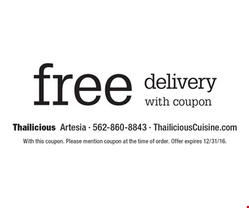 Free delivery with coupon. With this coupon. Please mention coupon at the time of order. Offer expires 12/31/16.