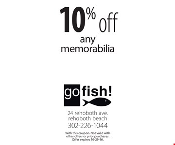 10% off any memorabilia. With this coupon. Not valid with other offers or prior purchases. Offer expires 10-29-16.