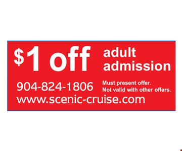 $1 offadult admission.. Must present offer. Not valid with other offers.