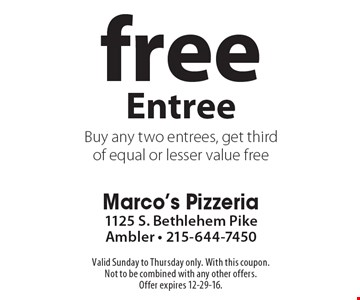 Free Entree. Buy any two entrees, get third of equal or lesser value free. Valid Sunday to Thursday only. With this coupon. Not to be combined with any other offers. Offer expires 12-29-16.