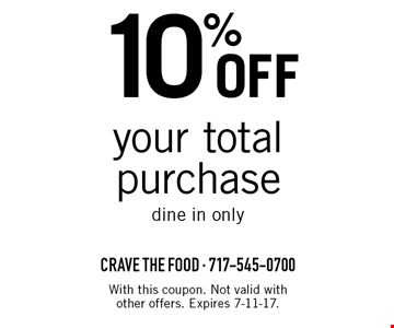 10% off your total purchase. Dine in only. With this coupon. Not valid with other offers. Expires 7-11-17.