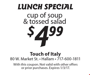 Lunch Special $4.99 cup of soup & tossed salad. With this coupon. Not valid with other offers or prior purchases. Expires 1/3/17.
