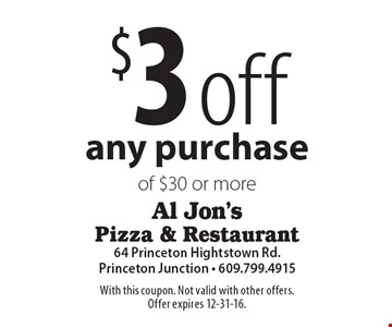 $3 off any purchase of $30 or more. With this coupon. Not valid with other offers. Offer expires 12-31-16.