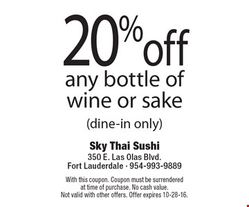 20% off any bottle of wine or sake (dine-in only). With this coupon. Coupon must be surrenderedat time of purchase. No cash value.Not valid with other offers. Offer expires 10-28-16.