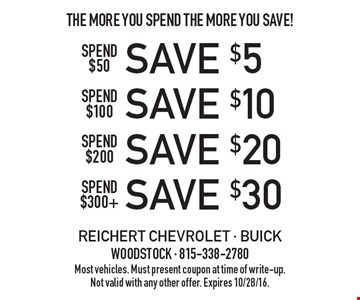 The More You Spend The More You Save! Spend $50 - save $5, spend $100 - save $10, spend $200 - save $20 or spend $300 - save $30. Most vehicles. Must present coupon at time of write-up.Not valid with any other offer. Expires 10/28/16.